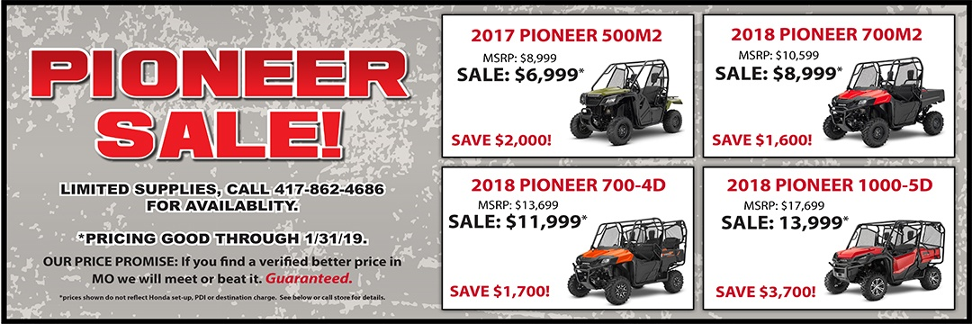 Pioneer Specials at Honda of the Ozarks in Springfield, MO